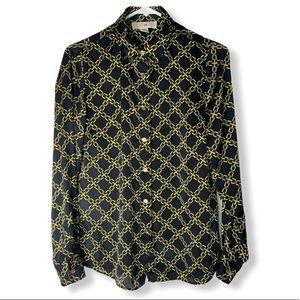 Michael Kors Women's Gold Chain Print Blouse
